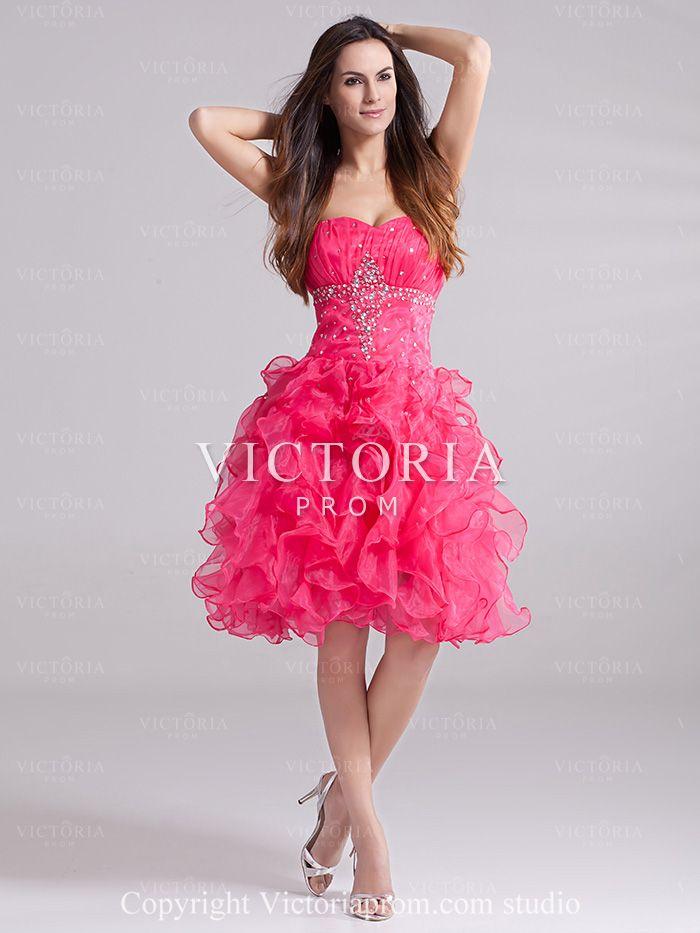 Ball Gowns Knee Length Ruffled Organza Sweetheart Corset Prom Dress ...