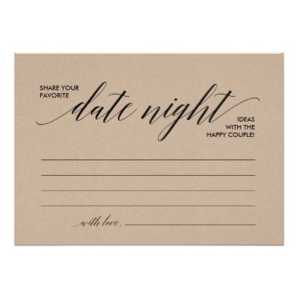 Date Night Card template, date night ideas (Kraft) Pinterest