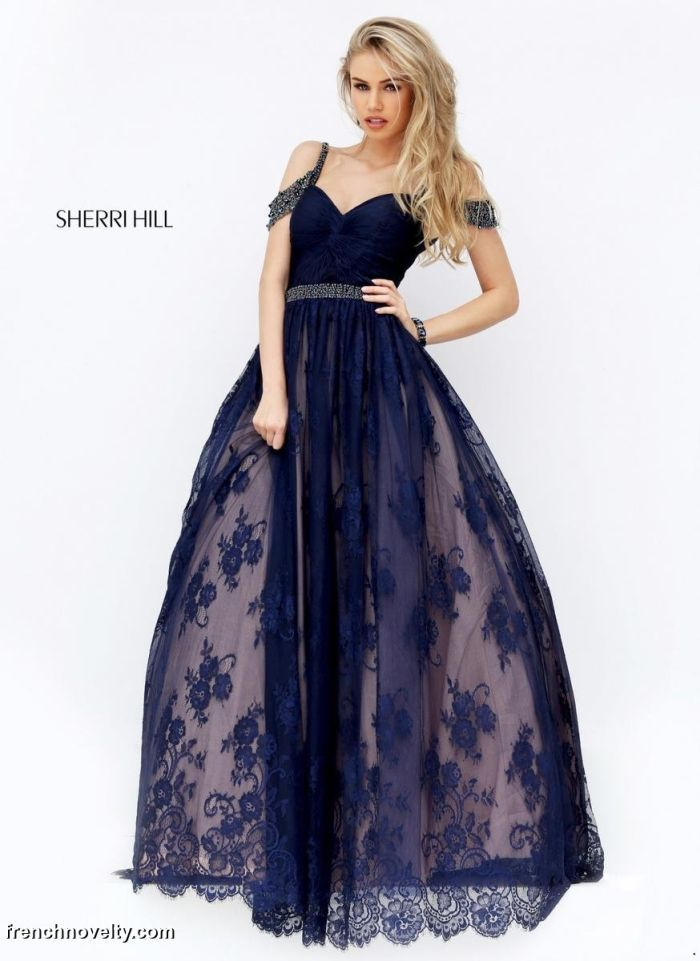Sherri Hill 50595 is a long ball gown with a lace skirt and off the ...