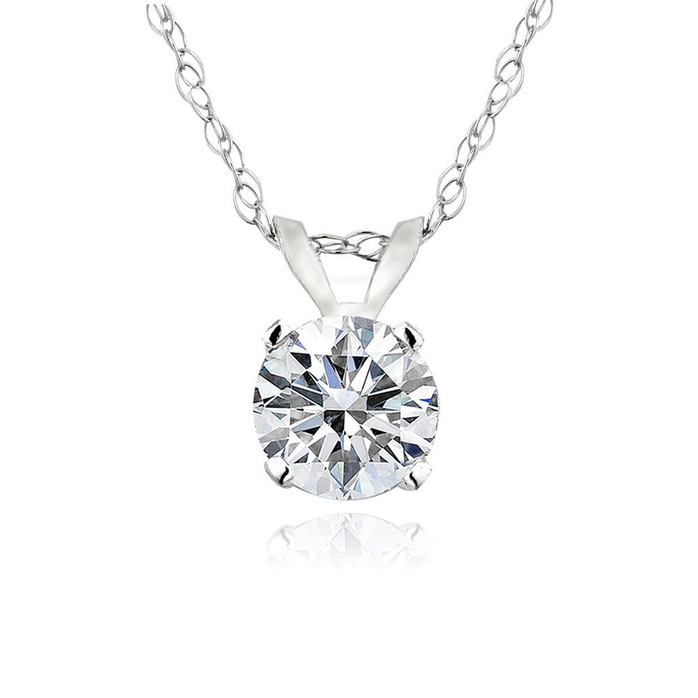 Simple yet elegant this necklace boasts a single 13ct diamond simple yet elegant this necklace boasts a single diamond prong set in lustrous white gold this pendant hangs from an 18 inch gold chain and secures with a mozeypictures Image collections