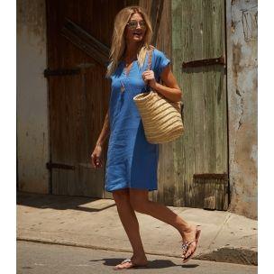 d7070eac402 Dori Linen Pocketed Dress Marina Blue