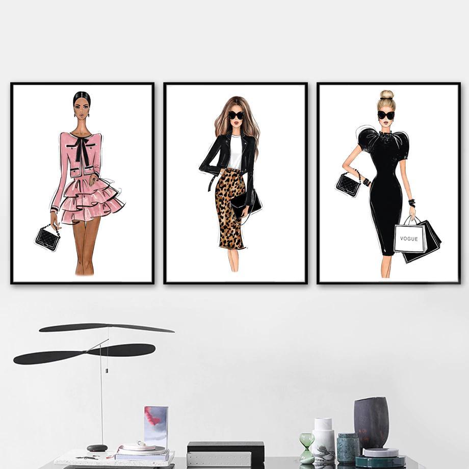 London Paris New York Fashion Wall Art Designer Boutique Fine Art Canvas Prints Nordicwallart Com Fashion Wall Art Girl Posters Fine Arts Posters