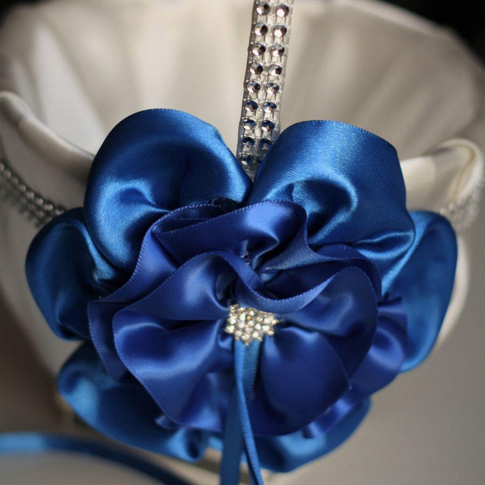 Blue Flower Girl Basket Ivory Blue Wedding Basket Cobalt Blue