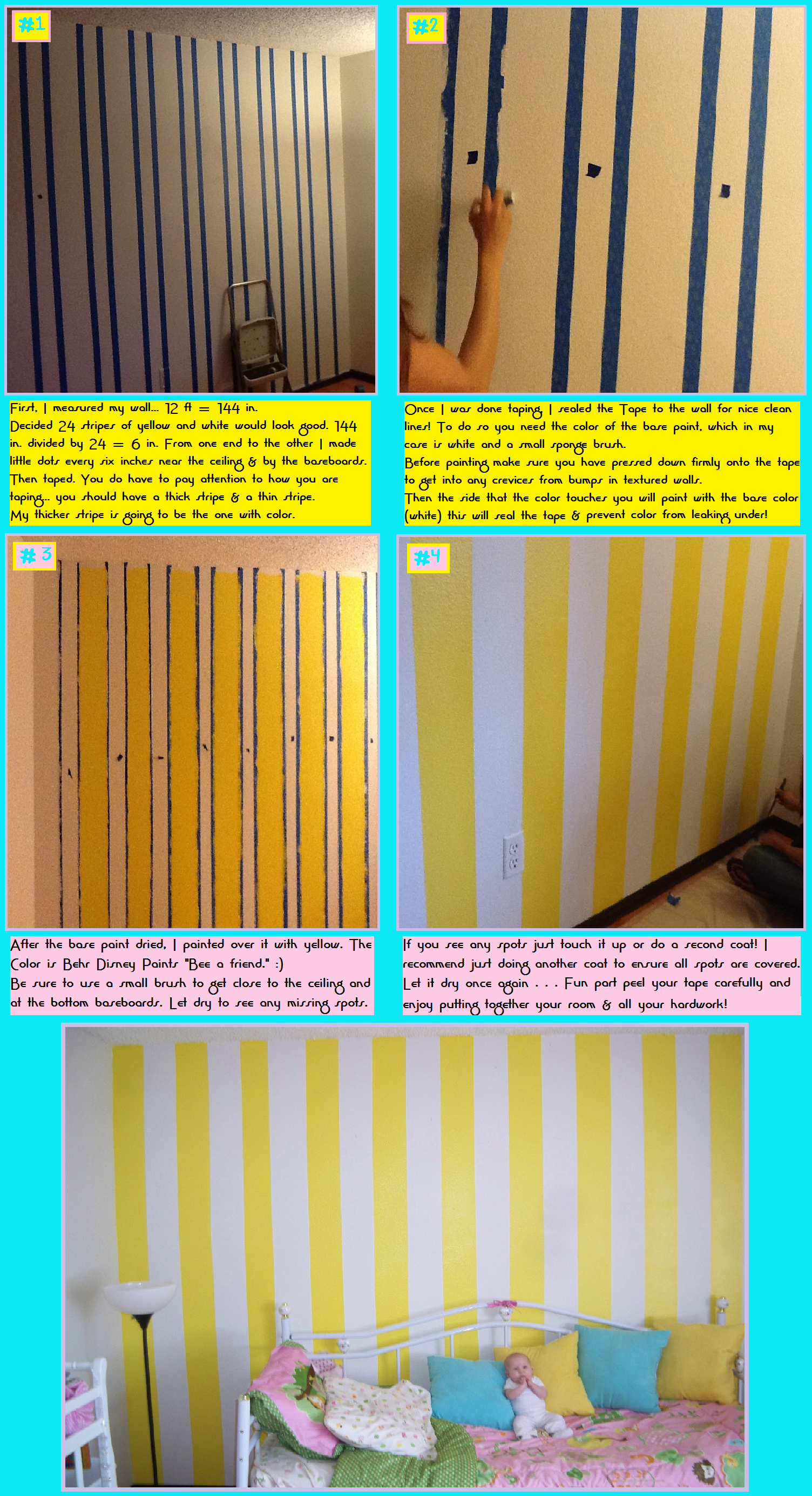 Yellow Striped Wall for my yellow kitchen! | grey and yellow decor ...