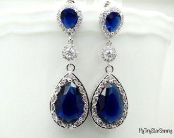 Dark Blue Earrings Royal Blue Earrings Bridal Earrings Cubic Zirconia Navy Blue Earrings Wedding Bridal Jewelry Post Earrings