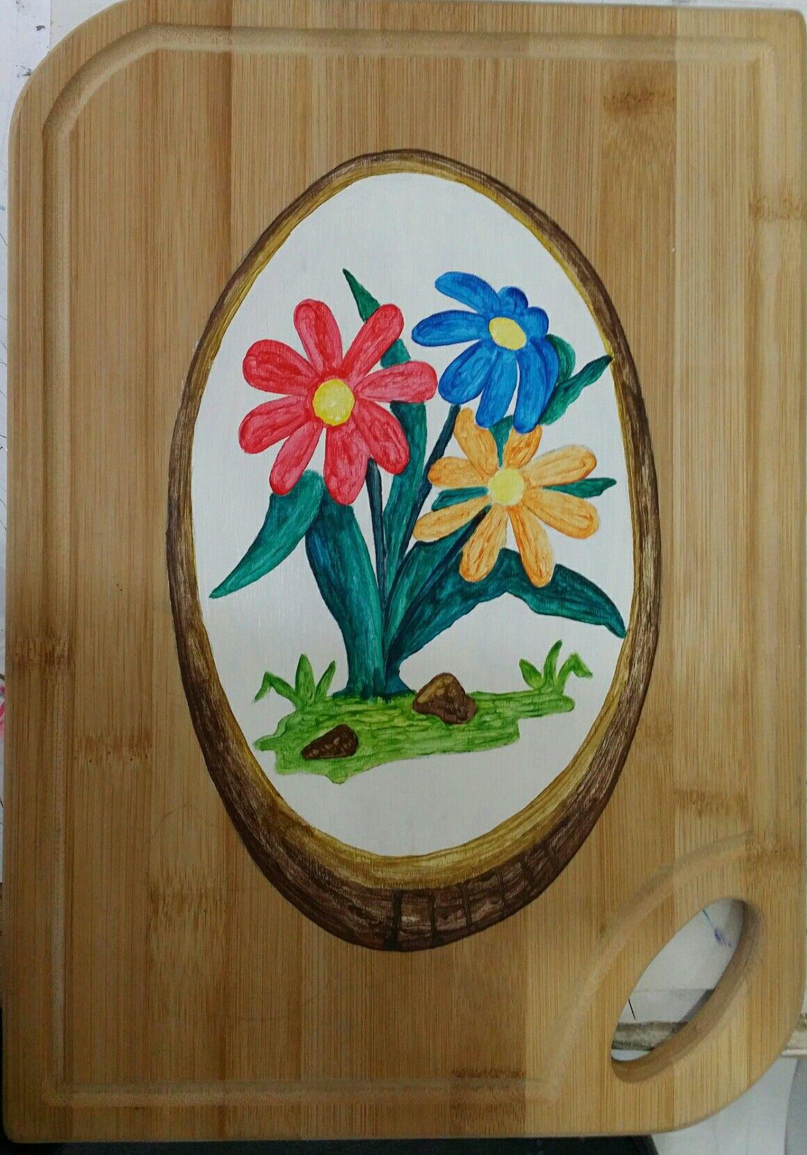 من أعمالي رسم علي خشب جدة Tableware Plates
