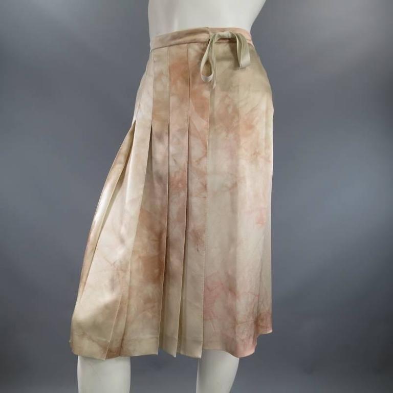 PRADA Size 4 Beige & Blush Marbled Silk Satin Pleated Wrap Skirt