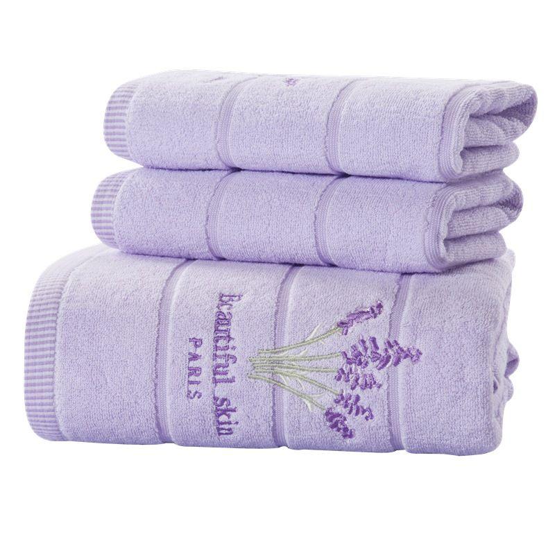 ROMORUS Cotton Purple Lavender Embroidered Towel Sets Soft Bath Towels for  Adults Quality Face Towels Bathroom Beach Towel