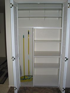 Linen And Utility Closet Storage   Google Search Closet Shelves, Closet  Storage, Broom Storage