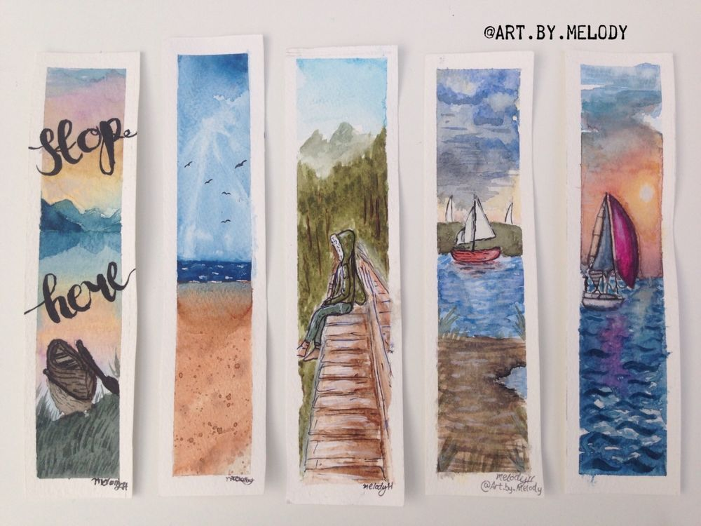 Hand Painted Watercolour Bookmarks Watercolor Bookmarks