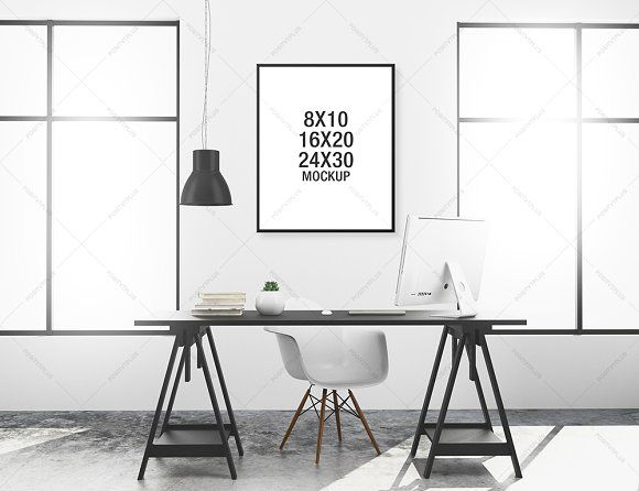 Poster Mockup Minimalist Workspace by positvtplus on @creativemarket ...