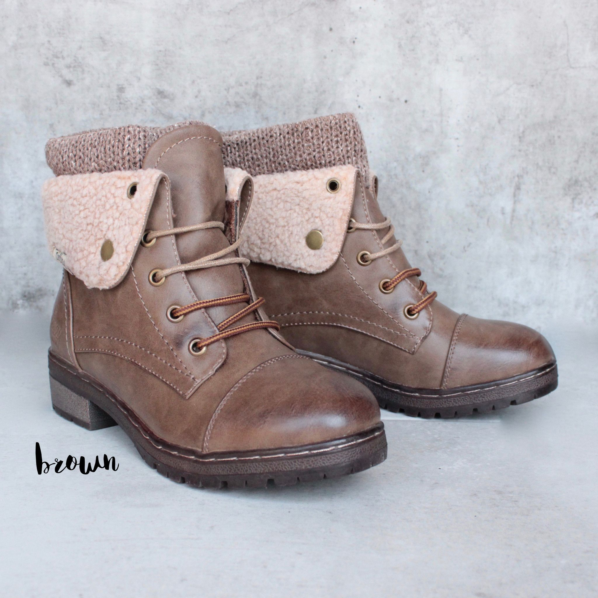 Coolway - bring leather knit sweater cuff ankle boots (more colors ...