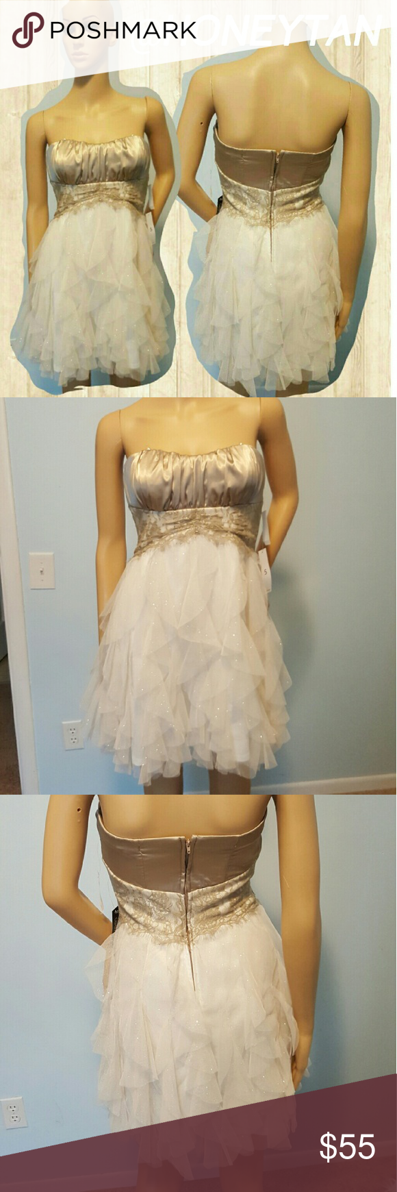 Taupe Pearl Cream Gold Glitter Dress Taupe Pearl Cream Gold Glitter Dress Teeze Me Dresses Prom