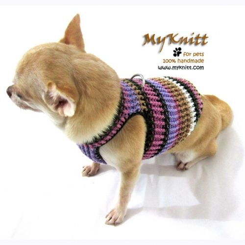Myknitt dog harnesses handmade crochet purple lavender color combination. Check all of our collection at www.myknitt.com #myknitt #dog #pet #harness #chihuahua #crochet #knit #diy #handmade