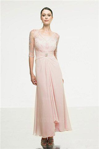 1ce005ed44e4 A-Line Princess V-neck Ankle-length Chiffon Mother of the Bride. Abiti Da  ...