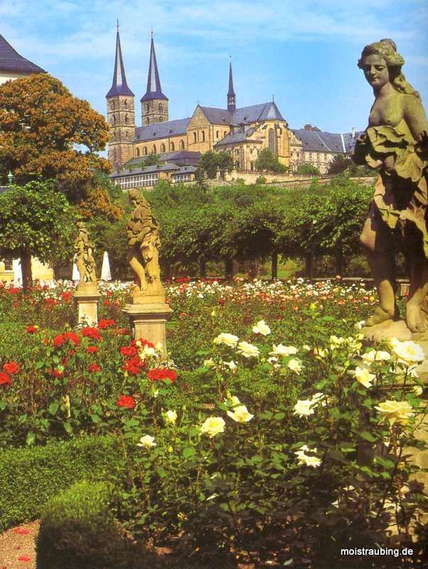 The new residence of Bamberg (Neue Residenz Bamberg). Rose garden in the summer. Germany.