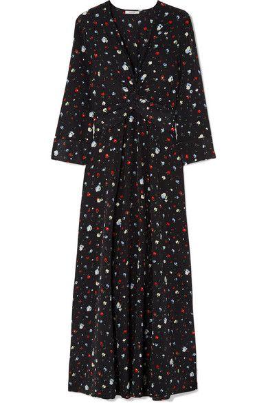 24b49d2c GANNI | Nolana twist-front floral-print silk crepe de chine maxi dress |  NET-A-PORTER.COM
