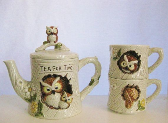 1977 Enesco Tea For Two Kitschy Owl Teapot And Cups By Brehalu 28 50