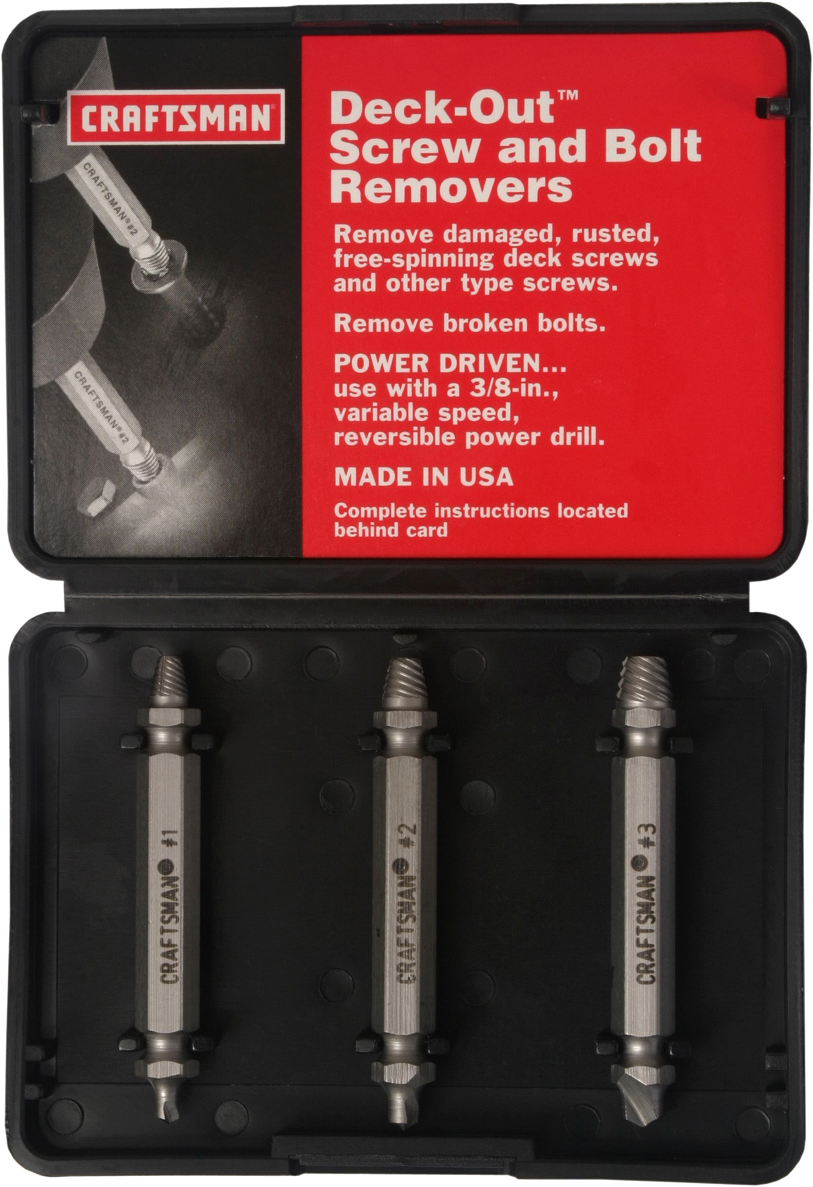 Craftsman 3 Pc Deck Out Screw And Bolt Removers Tools Hand
