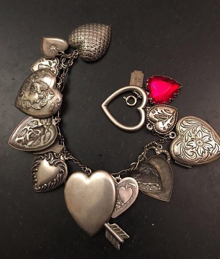 Pididdly Links Heart Charm Bracelet Ellenville NY Vintage Victorian Style Silver    eBay