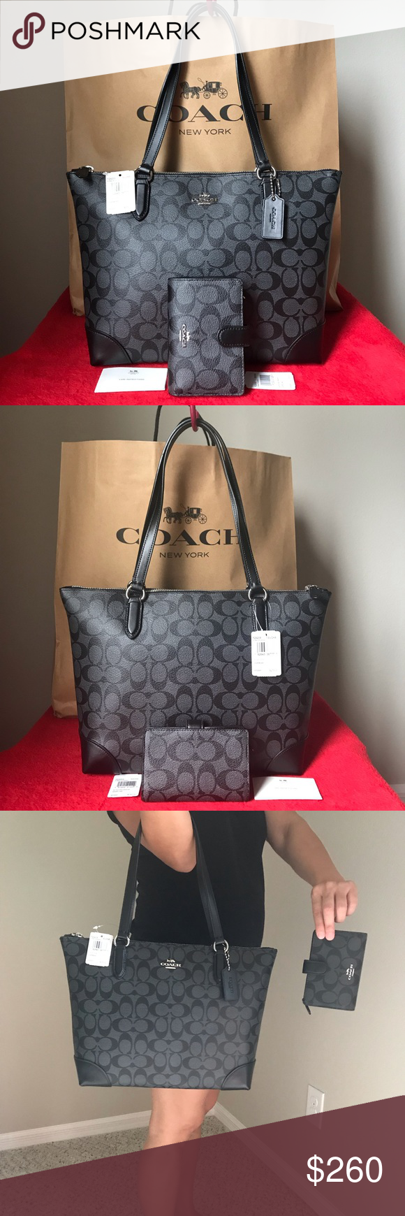 edfdaf9c3c7c ✅✅NWT Coach Set✅✅ NWT Coach F29208 Zip Top Tote in Signature Canvas