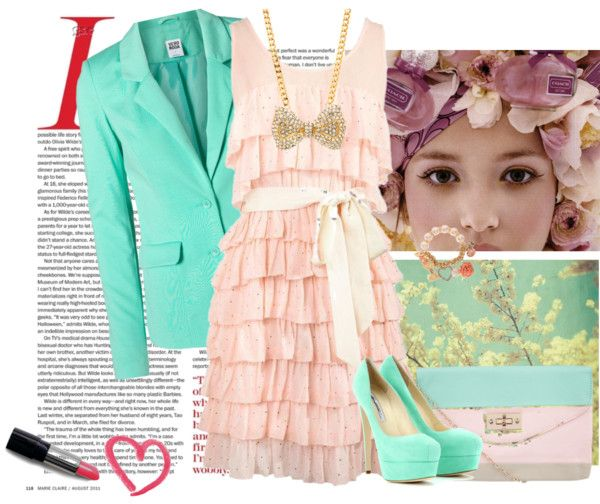 """""""Pink and Turquoise"""" by jazminoelia on Polyvore"""