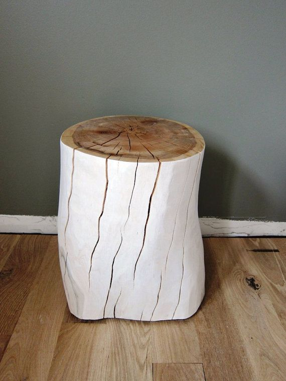 A chunk of wood custom made side tables from reclaimed for Stump furniture making
