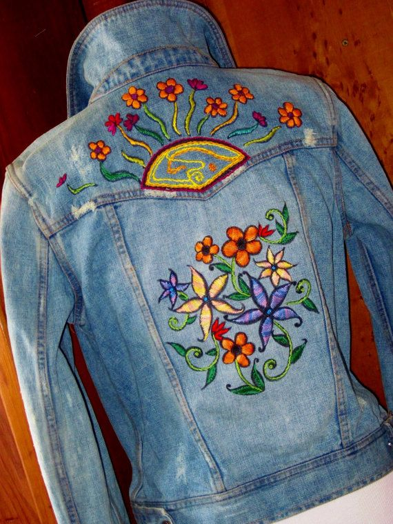 Personalized jean jacket with machine embroidered back