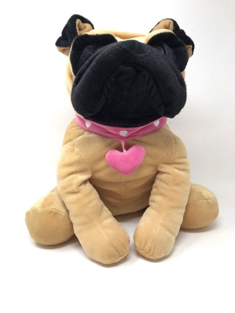 Hugfun International Bulldog Dog Large Plush Toy 16 Brown Pink