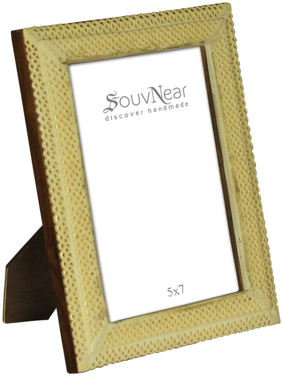 Bulk Wholesale Off-White Picture Frame in Wood & Bone – 5x7 ...