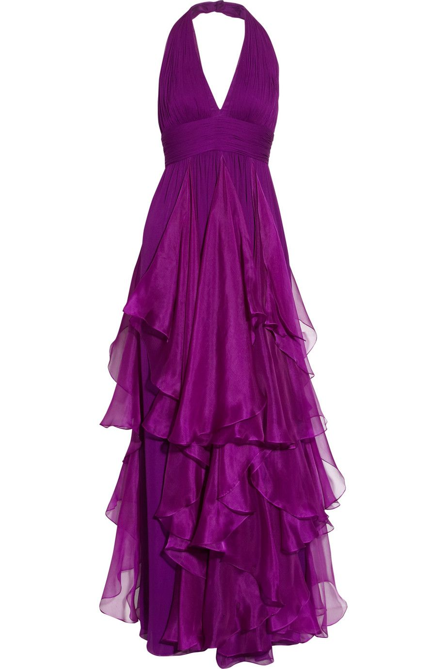 Notte By Marchesa Silkchiffon and Silkorganza Halterneck Gown in Purple | Lyst ; $682