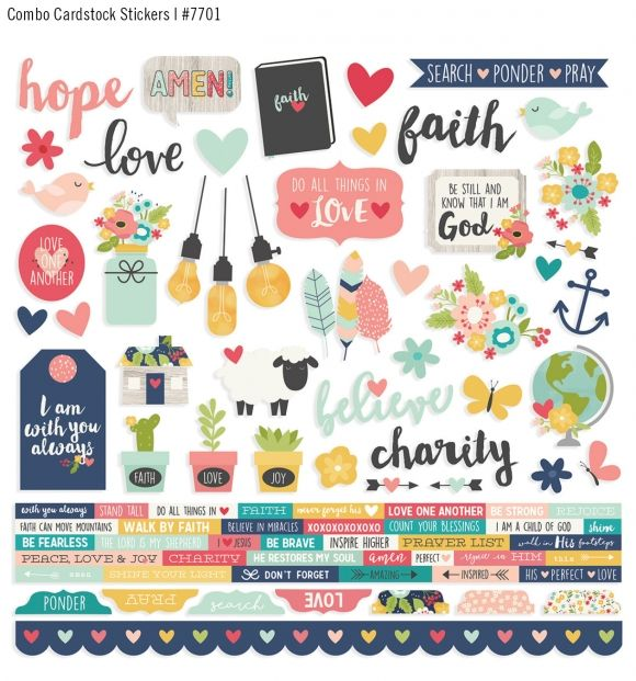 Paper House LIVE BY FAITH Cardstock Stickers scrapbooking HOPE PRAYER LOVE BIBLE