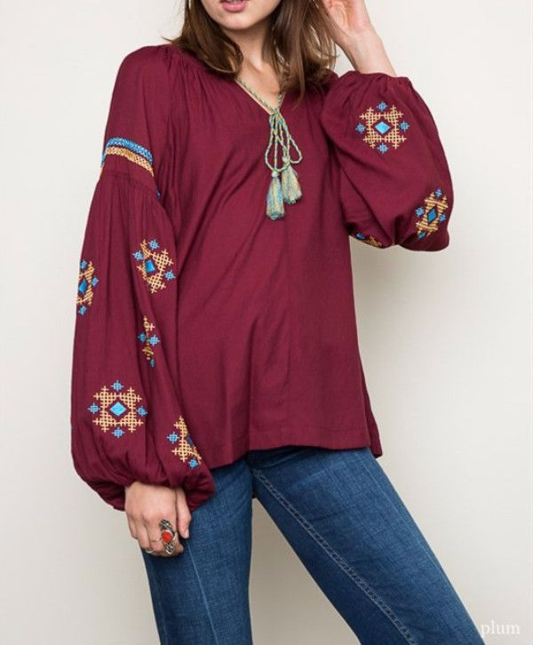 Embroidered Tunic Top - Plum