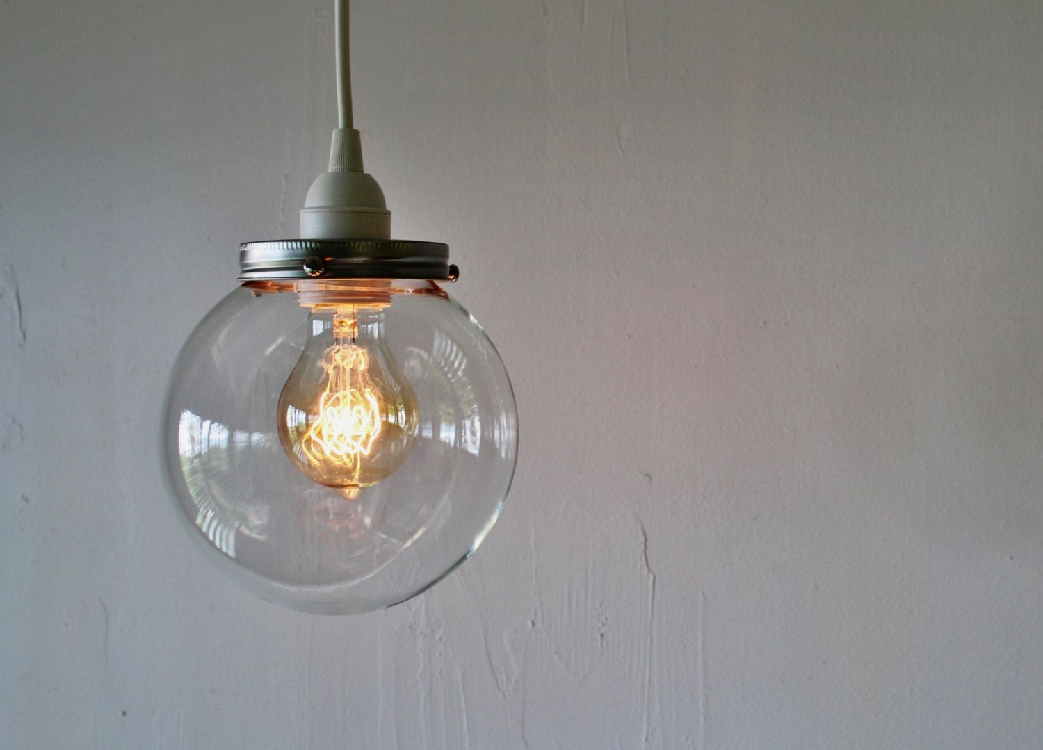 glass orb lighting. CRYSTAL BALL Pendant Lamp - Hanging Light With A Clear Round Orb Glass Globe Shade Simple Minimalist Industrial BootsNGus Lighting Fixture K