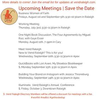 Upcoming Events | Save these Dates! More details to come. #raleigh #wahm #business  www.vendraleigh.com