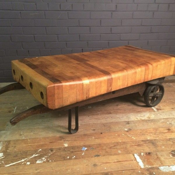 Billingsgate Cart and Butchers Block Coffee Table Butcher block