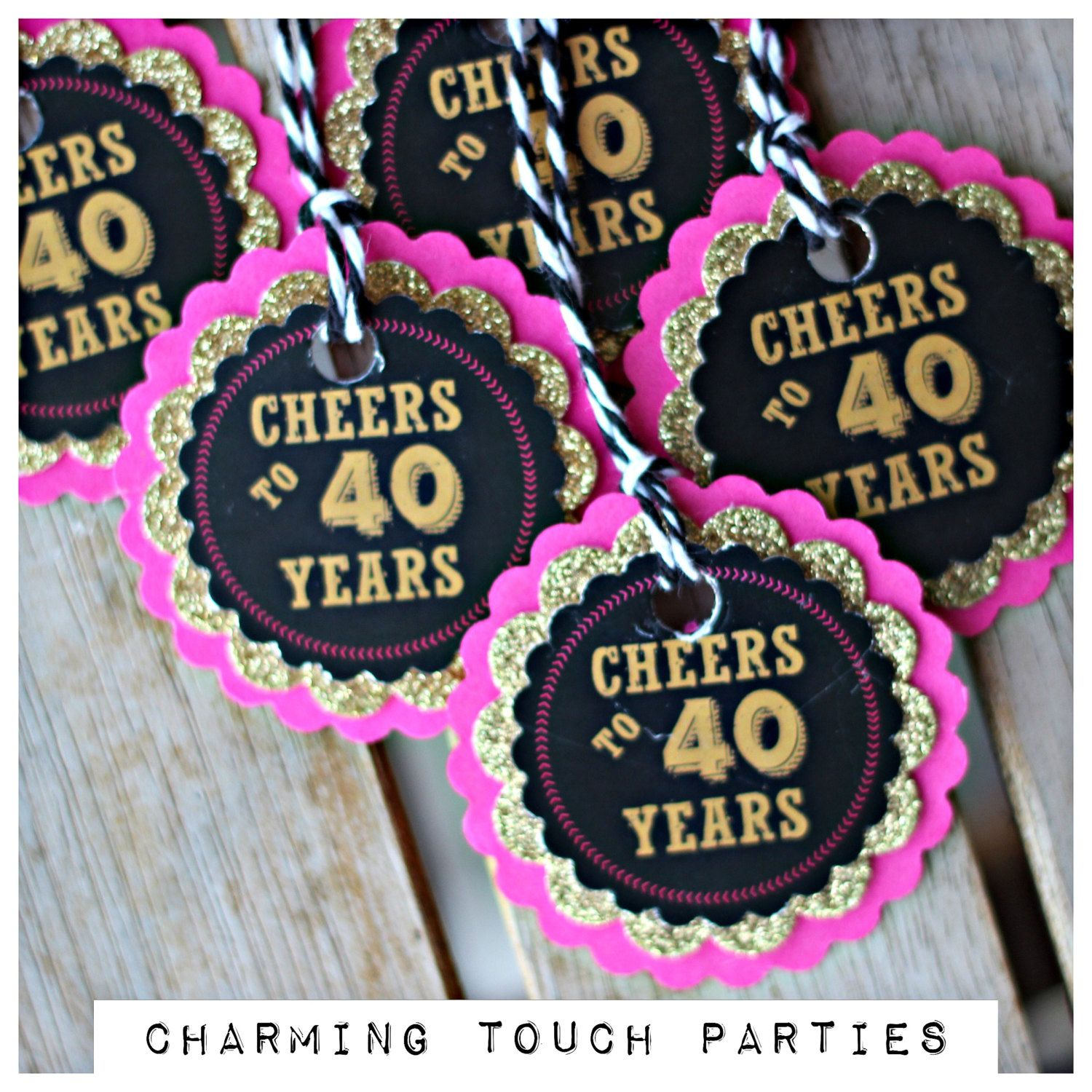 CHEERS TO 40 YEARS, Ladies Favor Tags, 40th Favor, 40th Party Decoration, Birthday Party Decor