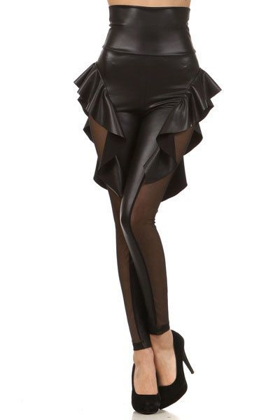 High Waisted Sexy Shinny Black Faux Leather Black  by dreamergo, $13.99