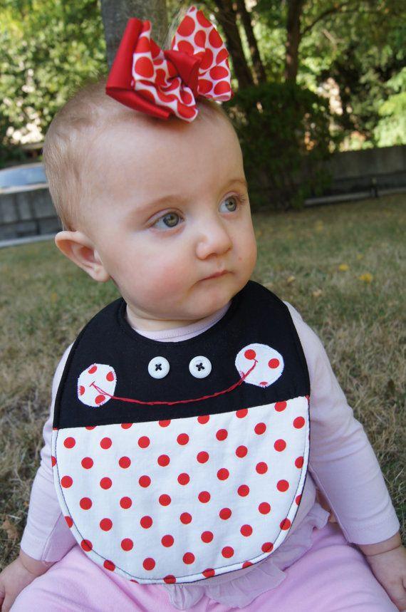 Ladybug Baby Bib READY TO SHIP by norahsnook1 on Etsy 113a386d2fa8
