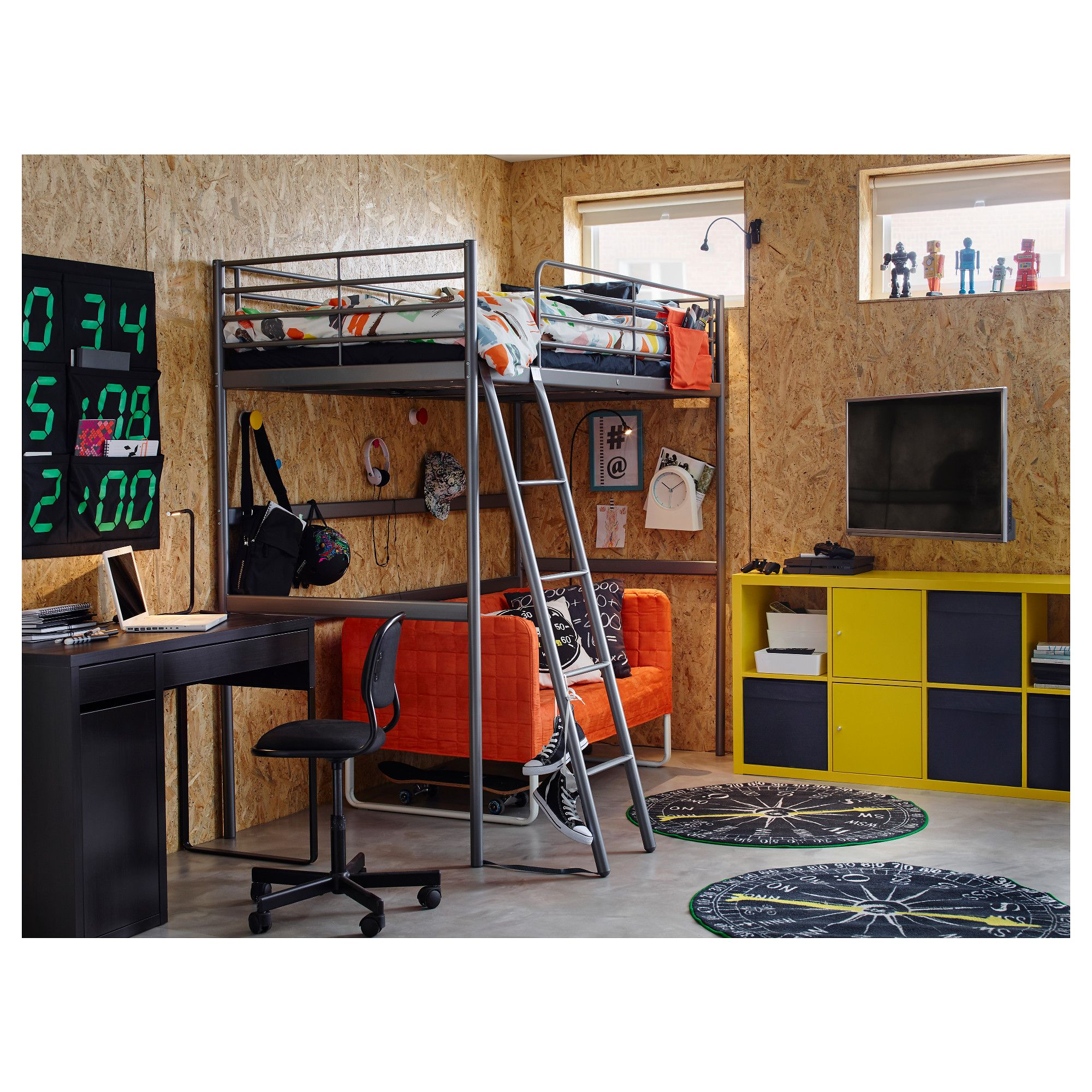 Tuffing loft bed ideas  IKEA  SVÄRTA Loft bed frame silver color  Interior Decor Thoughts