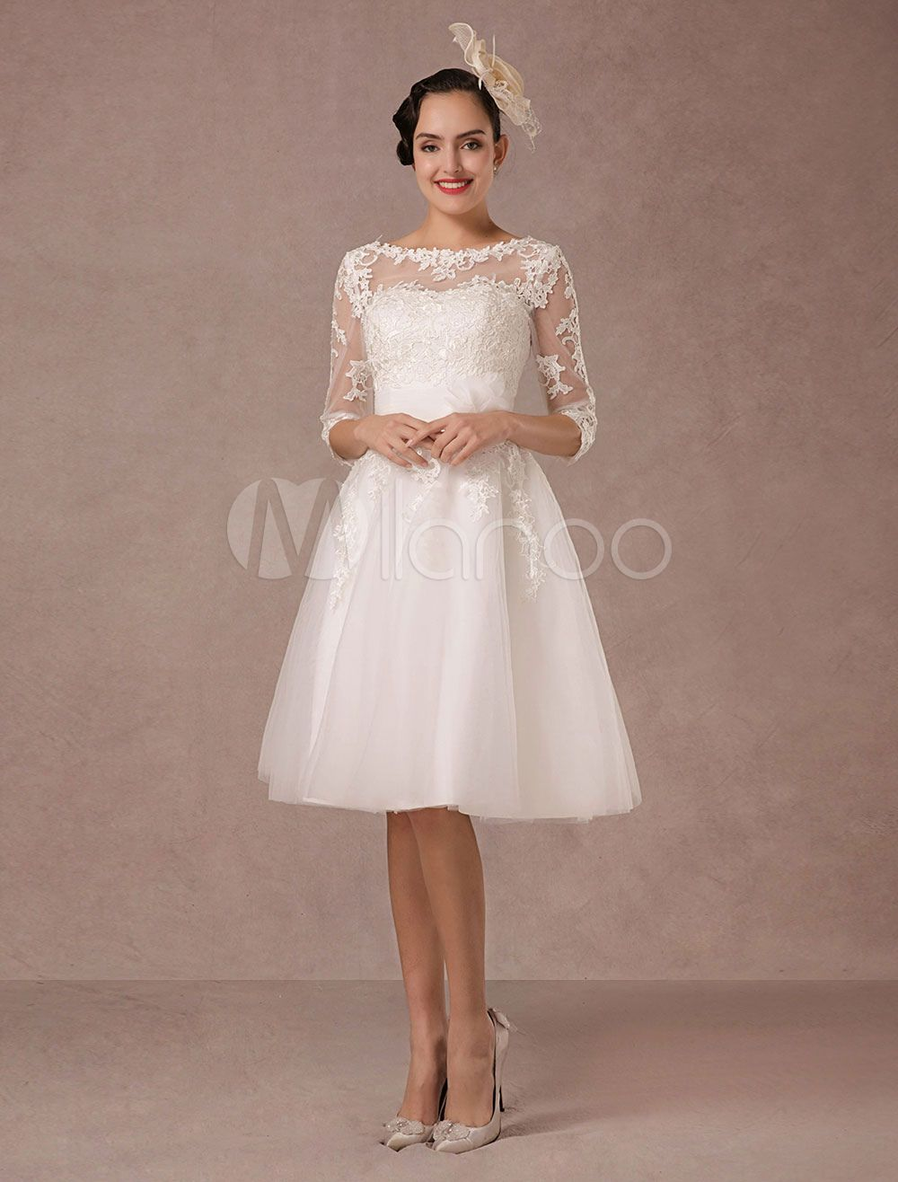 A line tulle wedding dress  Short Wedding Dress Vintage Lace Applique Long Sleeves Tea length A