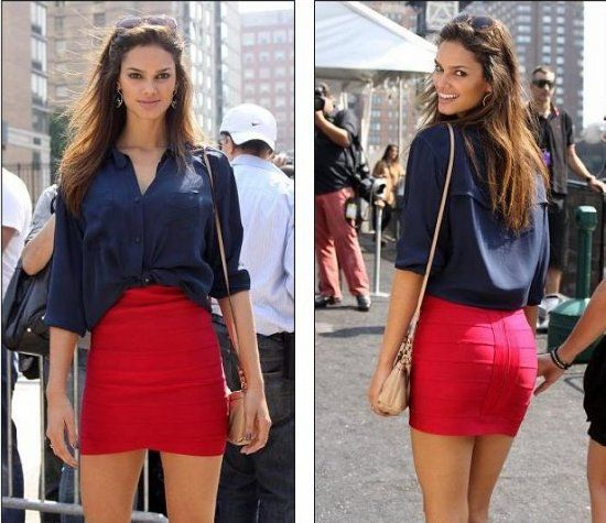 button down blouse with red Herve Leger mini skirt | Dresses ...
