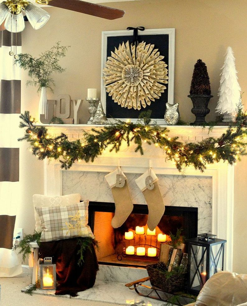 Neutral Christmas mantel Christmas mantels, Mantels and Neutral