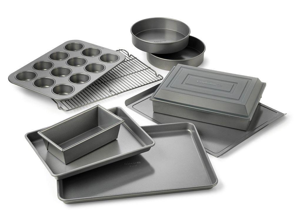 Nonstick Bakeware Set 10pc Calphalon Baking Pans Cookie Sheet Cake