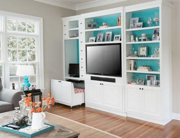 Stylish And Versatile Corner Workspace In The Living Room Decoist Desk Built In Built In Bookcase Built In Computer Desk
