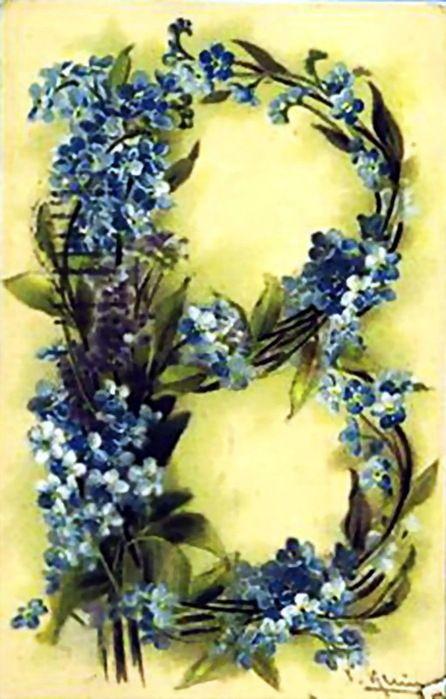 alphabet fleurs 1900