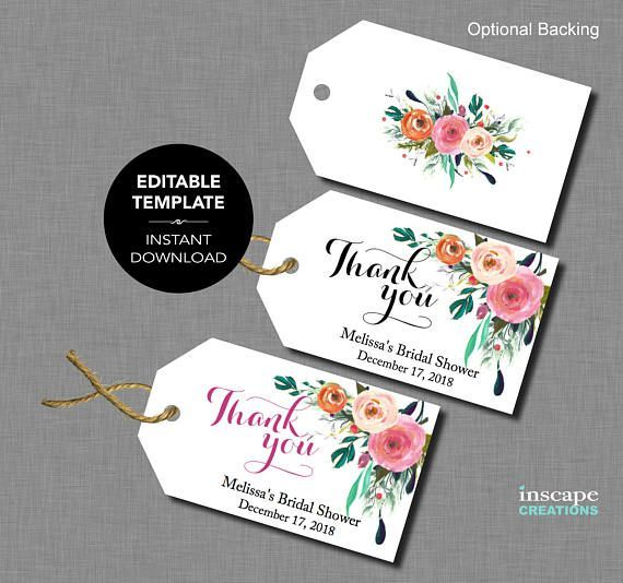affiliate editable bridal shower favor tags template floral rustic baby shower tags tag templates