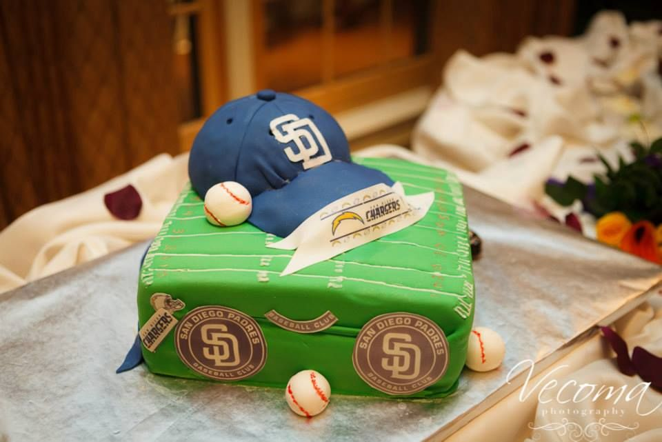 A really nice collage cake of San Diego Padres memorabilia