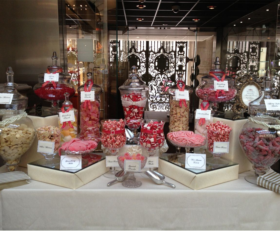 candy buffet ideas for weddings   Wedding Candy Buffet at The Royal Exchange in London in Corals and ...