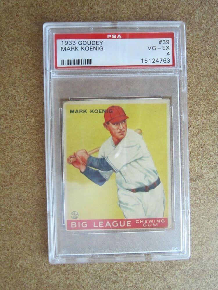 1933 Goudey Gum Mark Koenig Baseball Card #39